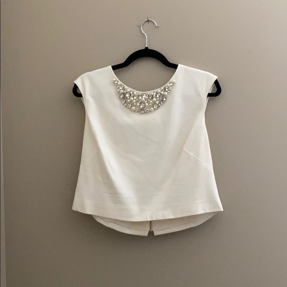 Cream Embellished Eliza J Crop top